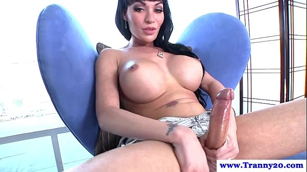 busty trans jerking massive cock toys ass big tits