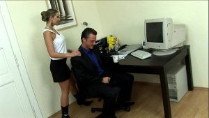 secretary interrupts her boss in his office straight sex